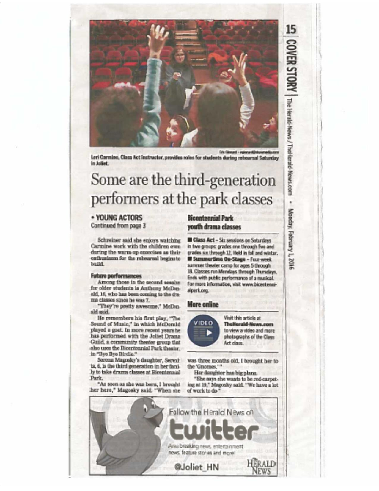 PARK'S DRAMA CLASSES feature story in The Herald-News 2/1/16