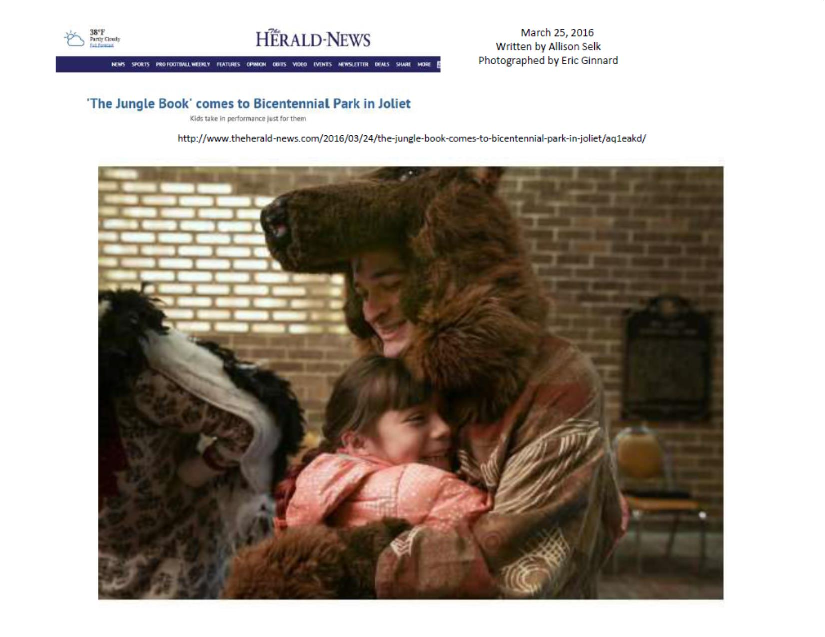 THE JUNGLE BOOK makes The Joliet Herald-News cover March 25