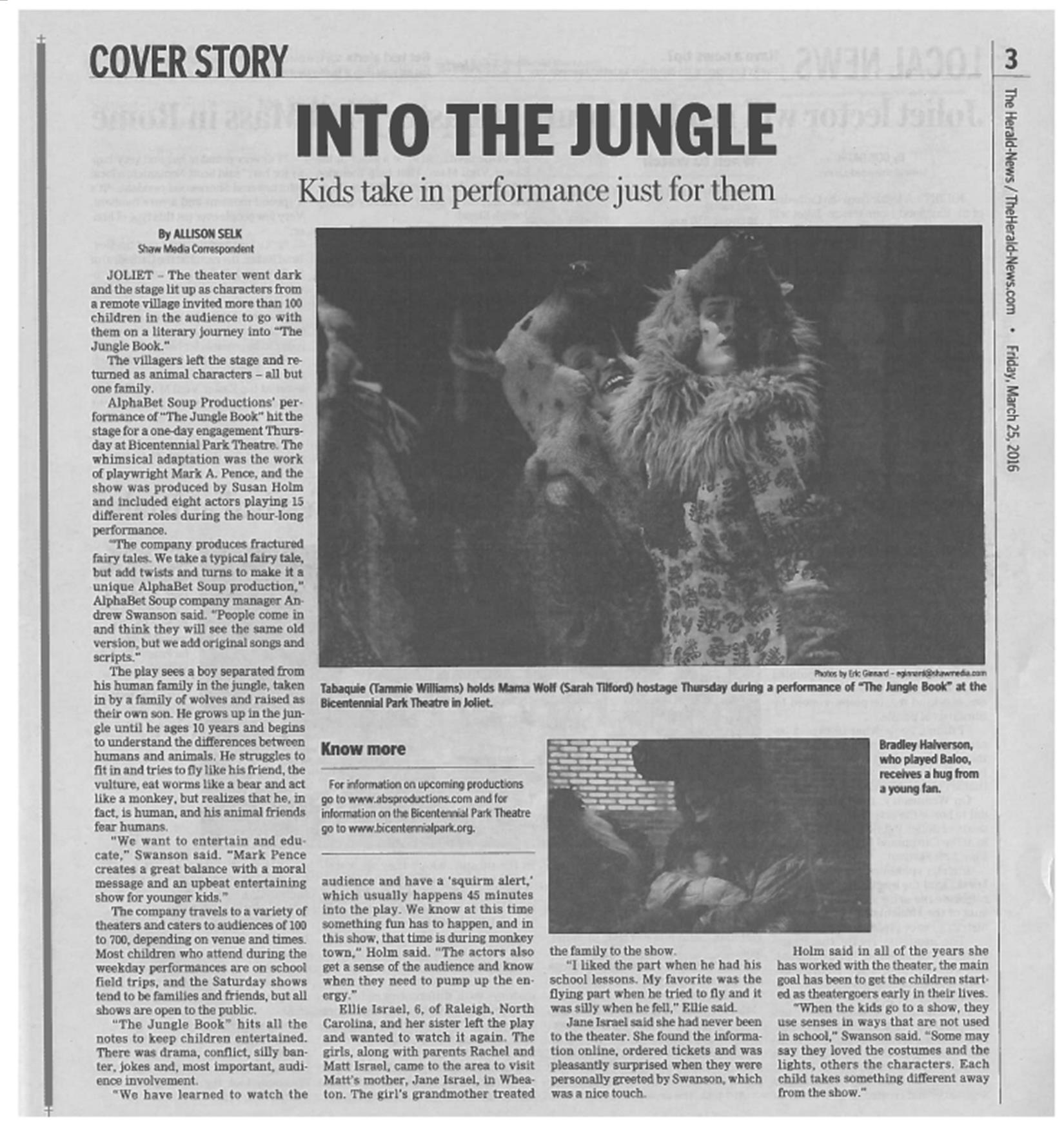 THE JUNGLE BOOK makes The Joliet Herald-News cover March 25, 2016