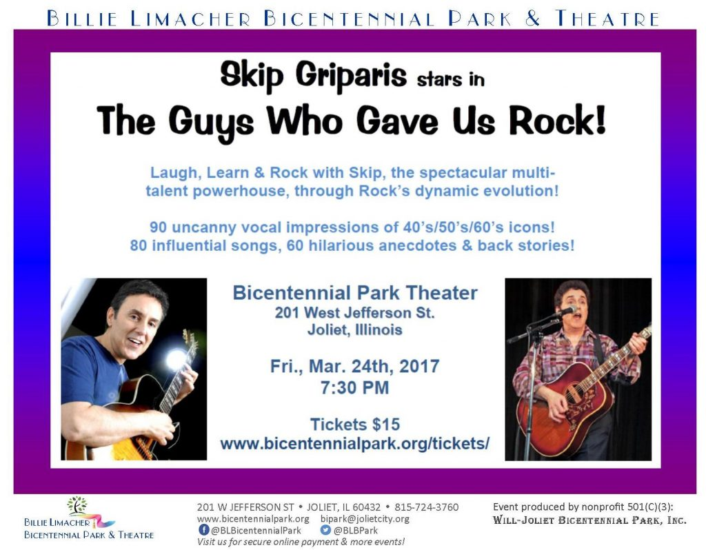 2017 Skip Griparis in The Guys Who Gave Us Rock - Mar 24 Bicentennial Park Theatre