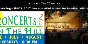 "43rd ""Concerts On The Hill"" start June 1, 2017"
