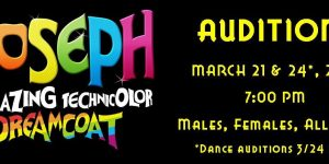 "Auditions for ""Joseph"" March 21 & 24, 2018"